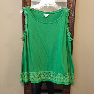 Crown & Ivy Green tank with lace detail.